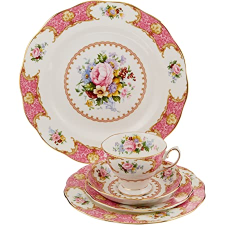 Royal Albert Lady Carlyle Salad Plate Dessert Plate Pink Roses Flower Floral Registry Wedding Anniversary Holiday Tableware Dinnerware Gifts