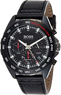 Hugo Boss Black Dial Black Leather Watch For Men, 1513662