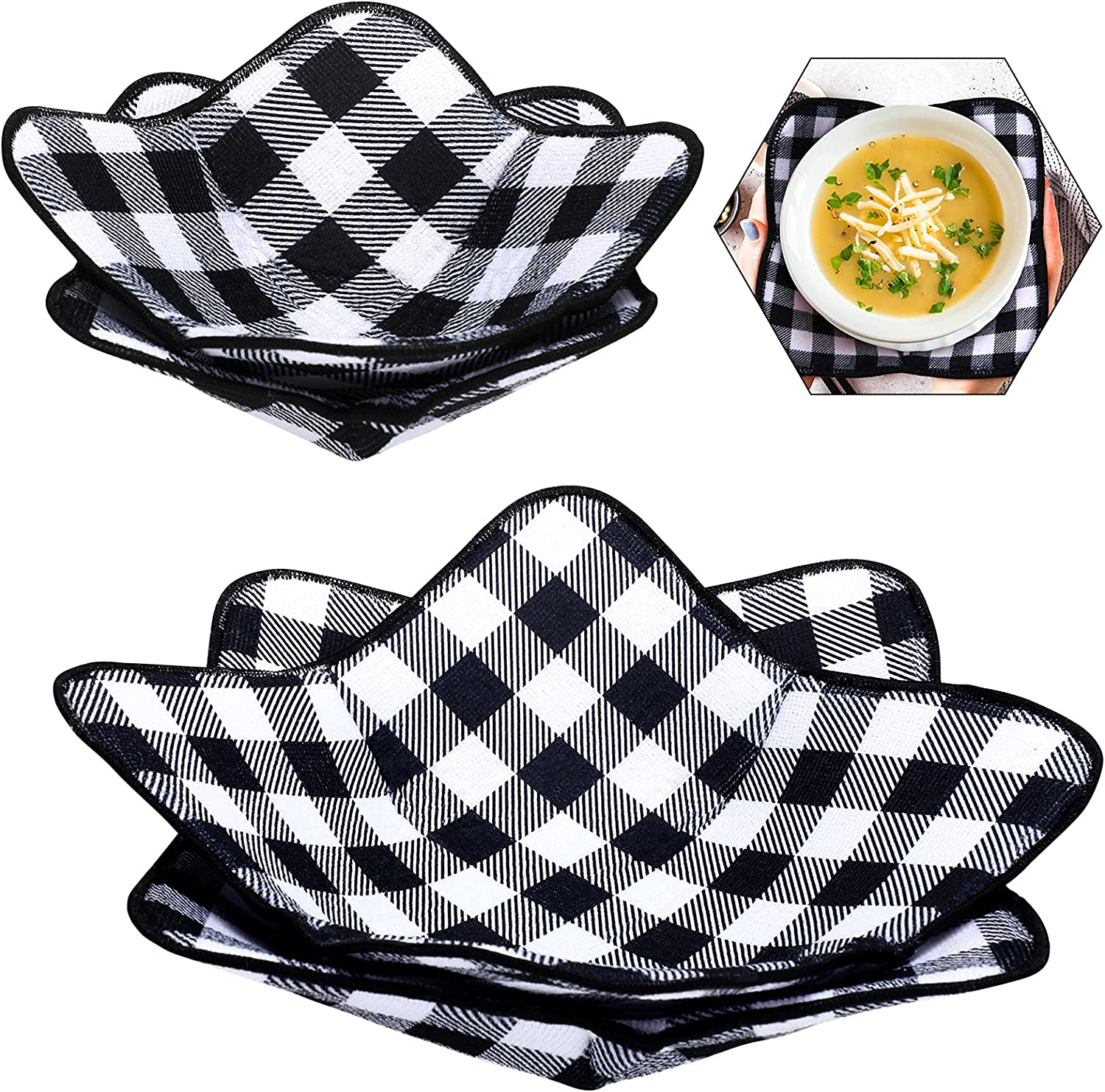 4 Pieces 2 Sizes Bowl Huggers Sponge and Microfiber Small Bowls Large Bowls Holder for Microwave Heat Plate Bowl Food Huggers Food Warmer for Home Kitchen and Hot Bowl Holder (Black and White)