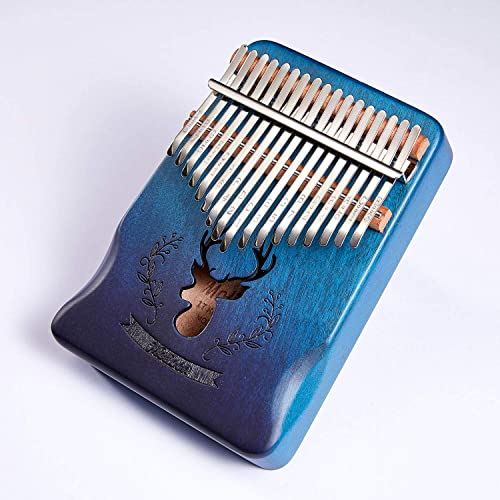 Molioon 17 Keys Kalimba Mahogany Body Thumb Piano solid wood mbira keyboard instrument (Handguard-Blue-Deer)