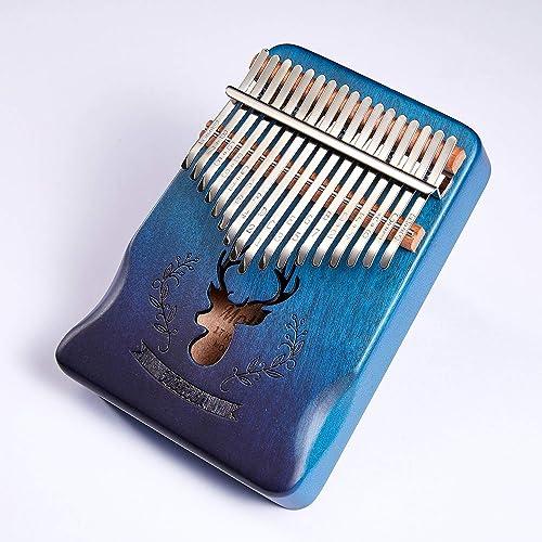 Molioon 17 Keys Kalimba Mahogany Body Thumb Piano solid wood mbira keyboard instrument (Handguard-Blue-Deer)