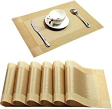 Placemat,U'Artlines Crossweave Woven Vinyl Non-Slip Insulation Placemat Washable Table Mats (6pcs placemats, Gold)