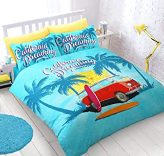 SURF BOARDS CAMPER VAN TURQUOISE COTTON BLEND USA QUEEN SIZE (DUVET COMFORTER COVER 230 X 220CM - 90