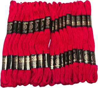 IBA Indianbeautifulart 25 Pcs Red Cotton Thread Sewing Floss Skein Cross Needlepoint Embroidery Stitch