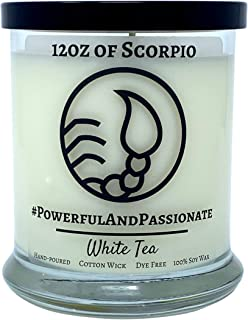 Golden Tail Candle Co. – Scorpio – White Tea, All-Natural Soy Zodiac Candle, 12oz