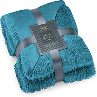 Hyde Lane Extra Fluffy Blanket Throw- 2 Way Reversible | Fuzzy Shaggy Long Faux Fur & Soft Mink | Fuax Fur Throw Blankets for Bed and Couch | - Teal, 50x60