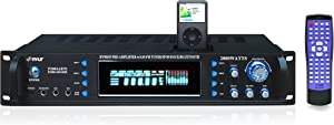 4-Channel Bluetooth Home Power Amplifier - 2000 Watt Audio Stereo Receiver w/ Speaker Selector, AUX, AM FM Radio, 30Pin iPod Dock, Karaoke Microphone Input - Home Entertainment System - Pyle P2002ABTI