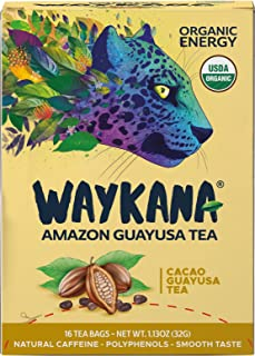WAYKANA Amazon Cacao Guayusa Tea Bags (16 count)   Healthy Coffee Alternative   Boost Energy, Performance & Mental Clarity   Antioxidant Tea   Naturally Sweet No bitterness   Feel the Jaguar Energy!