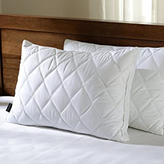 downluxe Set of 2 Quilted Down Feather Gusseted Pillows for Sleeping(King) 100% Cotton Downproof Cover Suprior Quality Bed Pillows