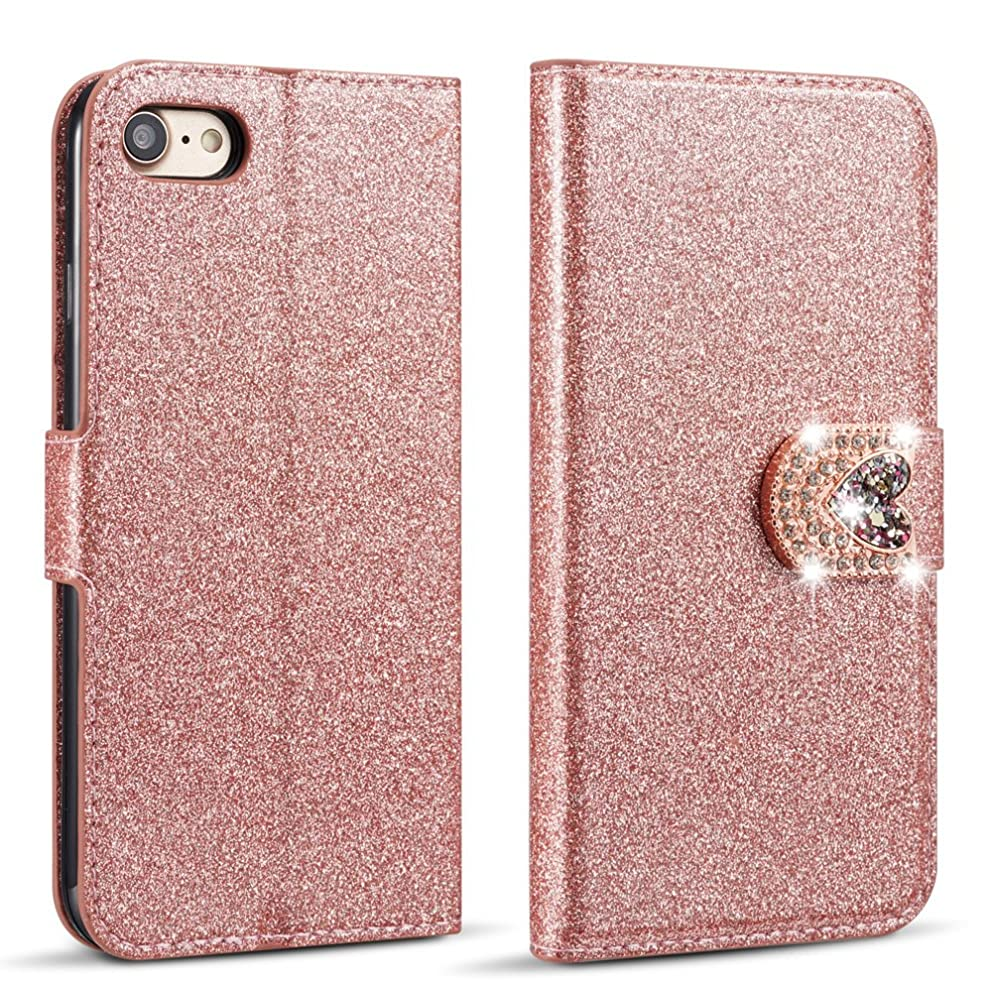 ZCDAYE Case for iPhone 7 Plus iPhone 8 Plus 5.5 inch,Bling Glitter Magnetic Closure PU Leather Flip Wallet [Love Diamond Buckle] Soft TPU Case for Apple iPhone 7 Plus/iPhone 8 Plus (Rose Gold)