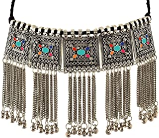 Ethnic Fashion Handmade Statement Tibetan Indian Turkish Tribal Silver Oxidized Collar Tassel Collar Chunky Choker Necklace