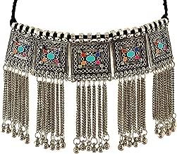 Ethnic Fashion Handmade Statement Tibetan Indian Turkish Tribal Silver Oxidized Collar Tassel Collar Chunky Choker Necklace