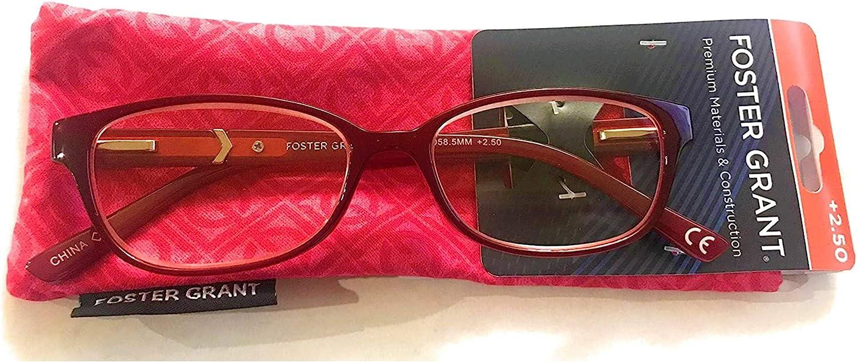 Foster Grant Coloread Wine Evalina Women's Reading Glasses with Case +20.20