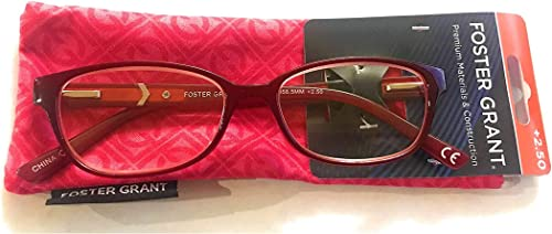 2021 Foster Grant Coloread Wine Evalina Women's popular Reading Glasses outlet sale with Case +2.75 outlet online sale
