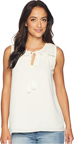 Sleeveless Tie Front Blouse with Tassel
