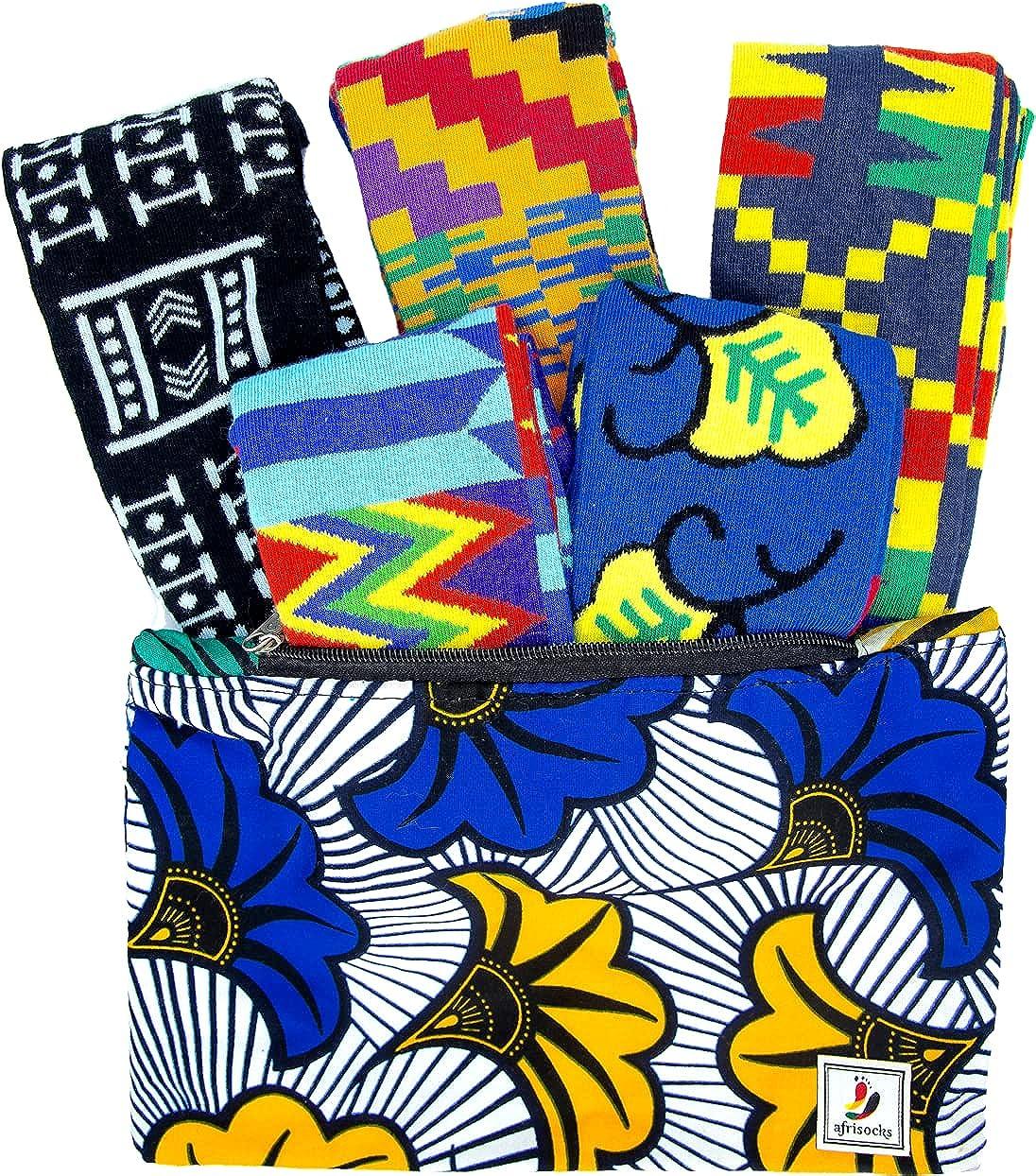 Afrisocks 5-pairs collection Kente, Ankara, African Wax Print so