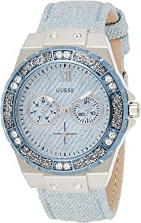 GUESS Women's Analogue Quartz Watch with Stainless Steel Bracelet - W0775L1, Ladies Blue