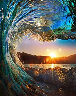 Full Drill Diamond Painting Ocean Sunset by Number Kits, 5D DIY Diamond Embroidery Crystal Rhinestone Cross Stitch Paintings Pictures Arts Craft for Home Wall Decor (30X40CM)