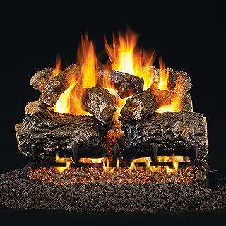 Peterson Real Fyre 16-Inch Burnt Rustic Oak Gas Log Set with Vented Natural Gas G4 Burner - Manual Safety Pilot
