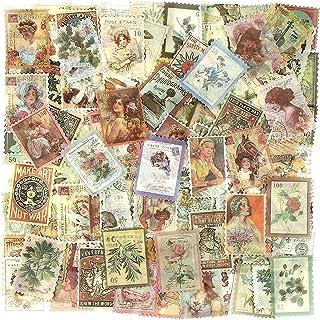 240 Pcs Autocollant Scrapbooking, Autocollants Thème du timbre, Stickers Scrapbooking, Stickers bâtiment Plantes Illustrat...