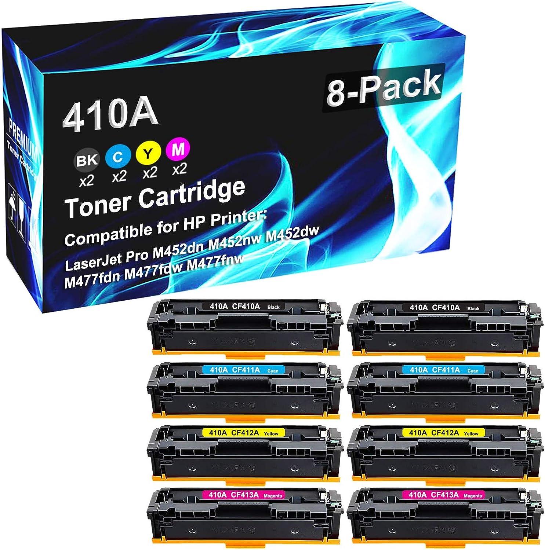 8 Pack (2BK+2C+2Y+2M) Compatible High Yield 410A CF410A | CF411A | CF412A | CF413A Toner Cartridge use for HP Pro M452dn M452nw M452dw M477fdn M477fdw M477fnw Laser Printer Toner Cartridge
