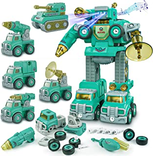 Toys for 6 Year Old Boys - Transform Toys for 4 5 7 8 Year Old Boys丨STEM Toys Vehicles for Kids Age 4-8 Car Toys丨5 in 1 Take Apart Construction Robot Toys Birthday Gifts for Kids Boys and Girls
