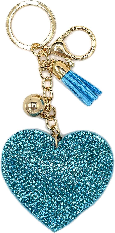 Heart Keychain Backpack Charms Crystal Bag Charm Keyring, Car Key Chain Gift for Women Kids