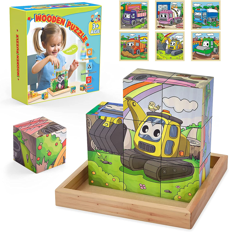 Hotifts Juegos Educativos Rompecabezas Madera Puzzle, Juguetes y Regalos para Niños (10cm*10cm)