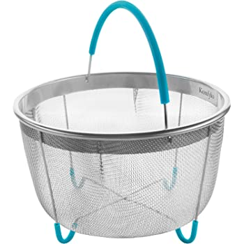 Komfyko Steamer Basket 8 Quart [3qt 6qt Avail]- Compatible with Instant Pot Accessories 8qt and Other Pressure Cooker Brands - IP Stainless Steel Insert with Silicone Handle and Feet for InstaPot