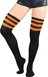 ToBeInStyle Women's Seamless Athletic Thigh Highs With Three Stripe Top