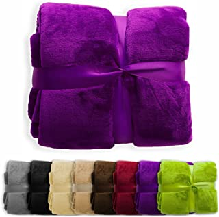 casa pura Fleece Throw Blanket | Plush Blanket Throw for Couch or Twin Size Bed | Super Soft & Cozy Fur Blankets | Various Sizes and Colors | Deep Purple - 60