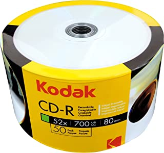 Kodak CD-R 700MB|80Min 52x Full Surface Printable Write Speed (Inkjet Printer), 50 Piece Film Set (Shrink)