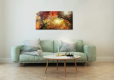 tiancheng Art,24x48 Inch Modern Hand-Painted Tree Art Oil Painting Acrylic Abstract Wooden Frame Canvas Wall Art for Living R