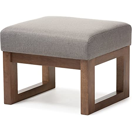 Amazon Com Simplihome Milltown 26 Inch Wide Contemporary Rectangle Footstool Ottoman Bench In Grey Linen Look Fabric Furniture Decor
