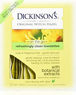 Dickinson's Original Witch Hazel Refreshingly Clean Towelettes 20 Each (Pack of 3)