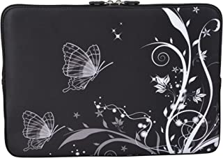 MySleeveDesign Notebook Sleeve Laptop Neoprene Soft Case Pouch 10 2  11 6  12 1  13 3  14  15 6  17 3  SEVERAL DESIGNS Butterfly White  10