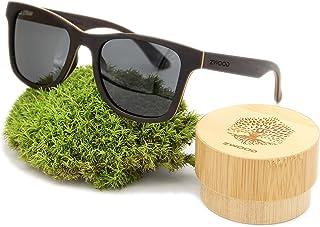 ZWOOD - Gafas de sol polarizadas de madera, gafas de sol de madera UV400, par de gafas de sol para hombre con marco de madera ecológica.