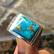 Gorgeous Blue Mohave Copper Turquoise 925 Sterling Silver Men's Ring Size 8, 8.75, 9, 9.75, 10, 11, 11.75, 12, 13, 14