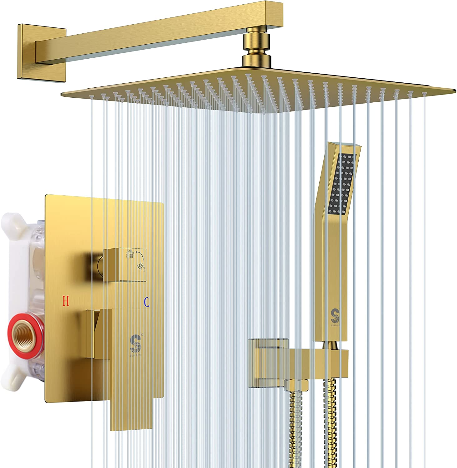 Buy SR SUN RISE Shower System Brushed Gold 20 Inches Bathroom ...