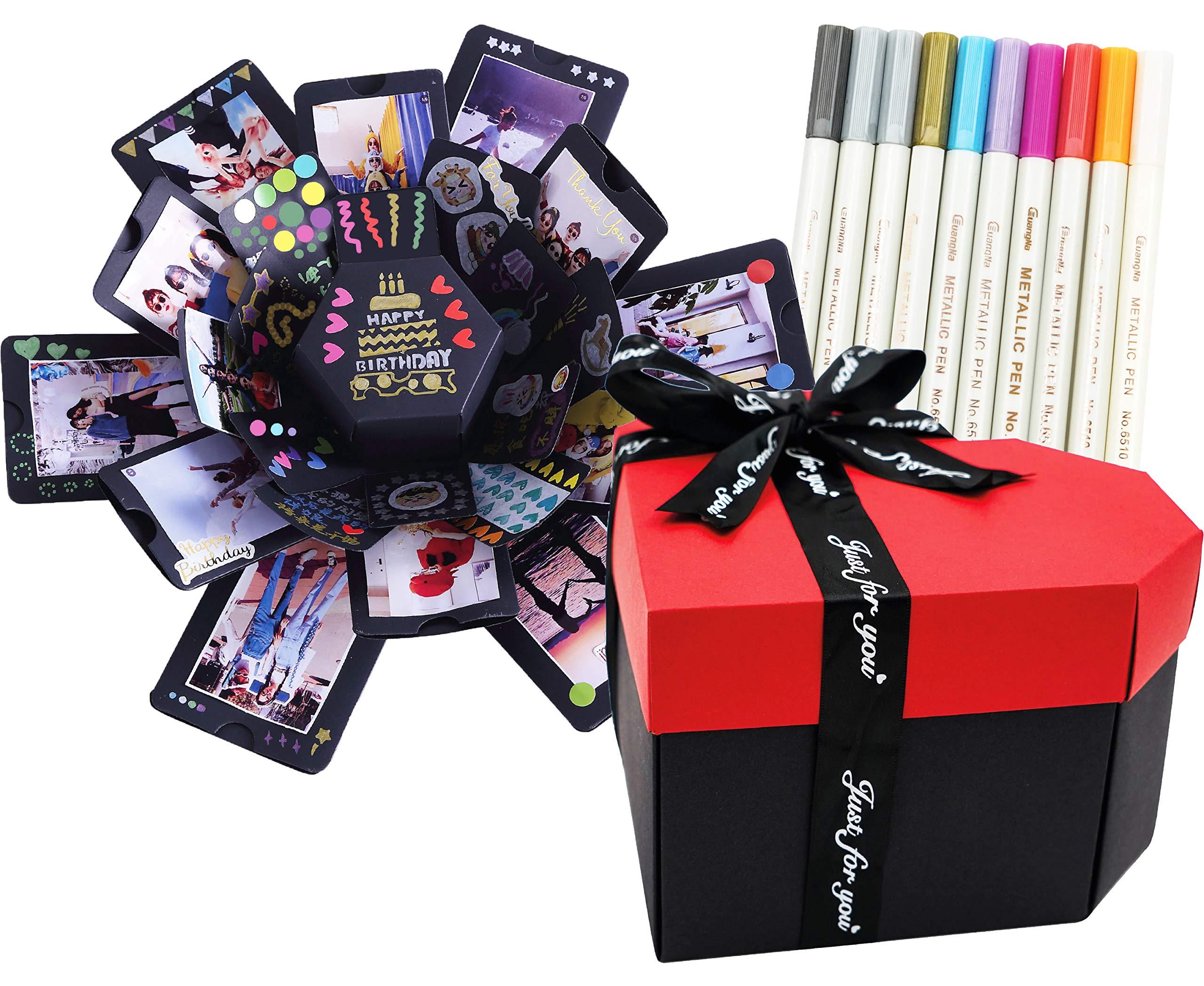 Zhonama Explosion Box totalmente montada, álbum de fotos personalizado, caja explosiva con sorpresa, ideal para regalos de cumpleaños, San Valentín, boda, idea original hazlo tu mismo: Amazon.es: Oficina y papelería
