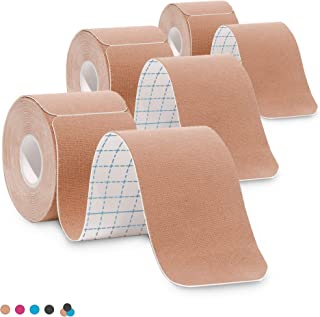 3-Pack Kinesiology Tape Pro Athletic Sports. Knee, Ankle, Muscle, Kinetic Sport Dynamic, Physical Therapy. Strong-Rock Breathable h2o Resist Cotton.Roll,pre-Cut 10 in Strip - Beige