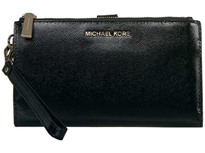 MICHAEL Michael Kors Jet Set Double Zip Wristlet (Black) Handbags