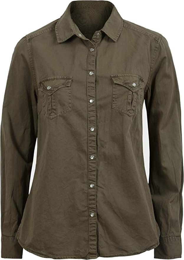 para Mujer Militar Caqui Plus tamaño de Manga Larga para Pure algodón de Sarga Camisa Blusa Top