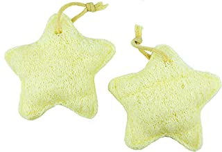 Natural Exfoliating Loofah by B&B Vibes, Set of 2, Star-shaped Bath or Shower Body Sponge