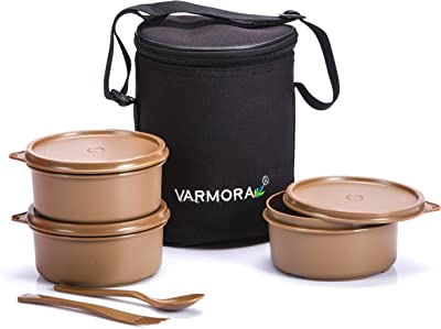 Varmora Perfect Lunch Box (Tiffine) 3Nos-500ml Container (Brown)