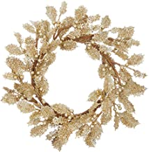 Sparkle Goldtone Foliage 13 inch Acrylic Decorative Pillar Candle Ring