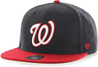 MLB Washington Nationals Sure Shot Two Tone Captain Wool Adjustable Hat, One Size, Navy