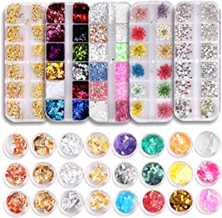 Sponsored Ad - 5 Boxes Nail Rhinestones and 24Pots Foil Flakes Nail Decorations Kit includes Nail Paillette Foil Chips Nai...
