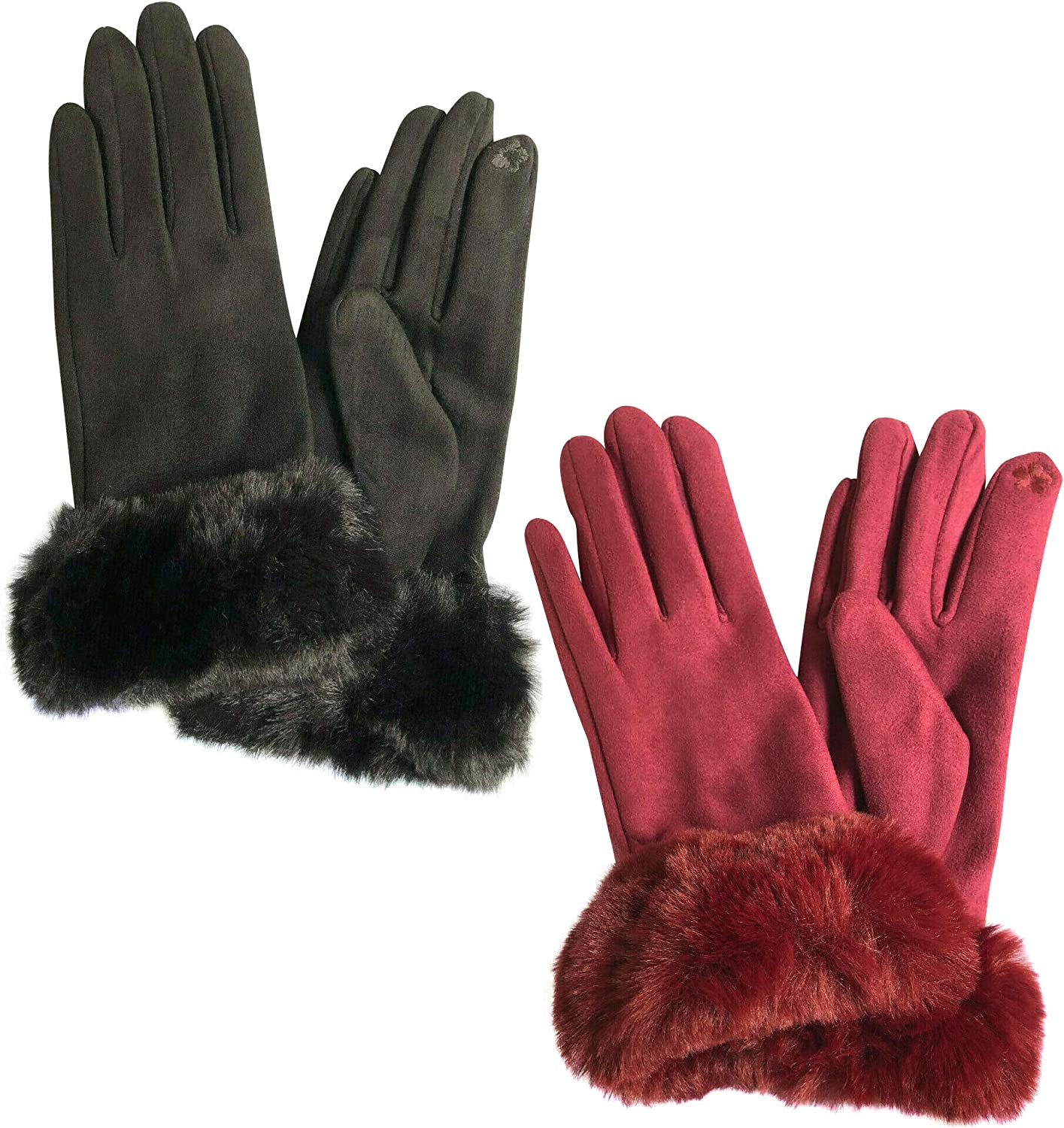 2 Pairs Women Touchscreen Soft Suede fashion Gloves Fleece Lined Windproof Fluffy Fur Winter Gloves