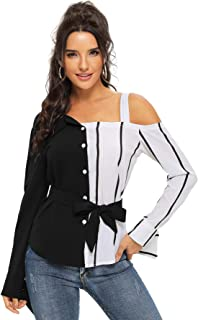 Women Striped Color Block Cami Long Sleeves Tops and Blouses